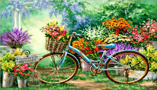 Flower Bike DIY 5D Full Drill Diamond Painting Embroidery Cross Stitch Kits Art $13.99
