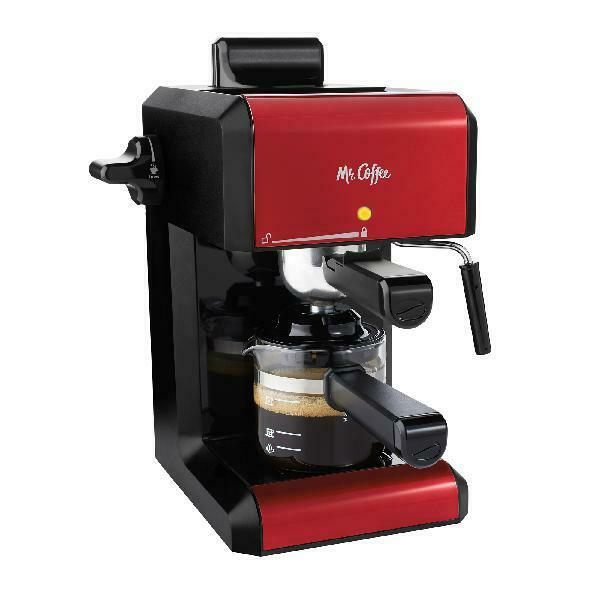 Mr. Coffee Cafe 20 Ounce Steam Automatic Red Espresso And Cappuccino Machine New