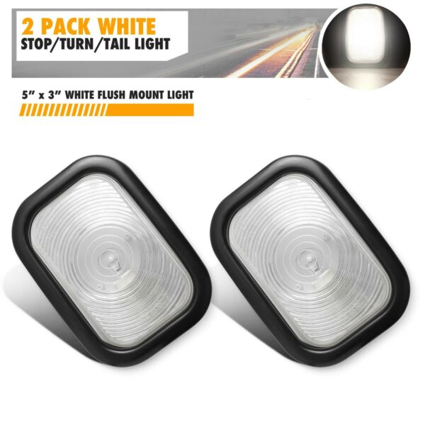 2 5quot; x 3quot; WHITE Incandescent Stop Turn Tail Lights Truck Trailer 3 X 5 $16.99