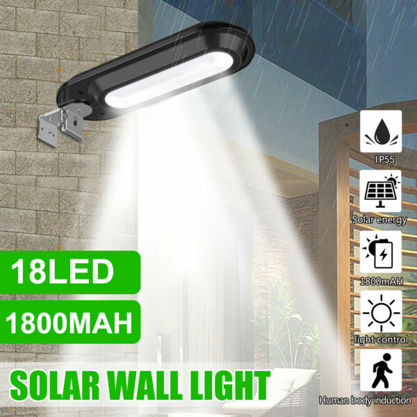 Outdoor Commercial 18 LED Solar Street Light IP55 Waterproof Dusk to Dawn Lamp $17.47