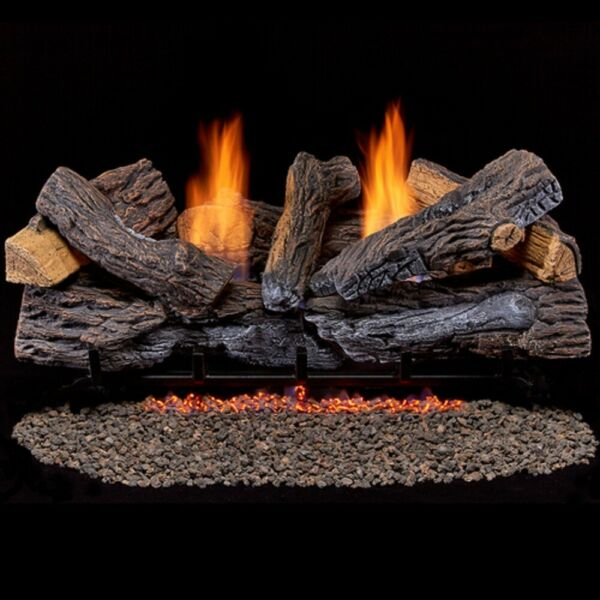 Duluth Forge Ventless Dual Fuel Log Set - 30 in. Stacked Red Oak