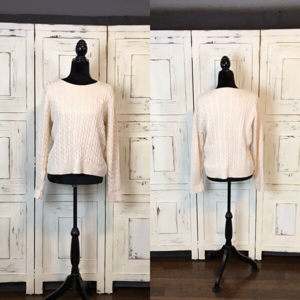 Liz Claiborne (Ivory) Cable Knit Women's Sweater Size Large