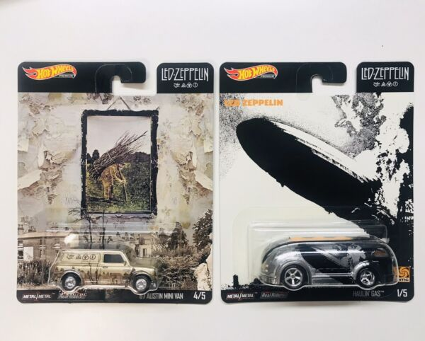 HOT WHEELS LED ZEPPELIN '67 AUSTIN MINI VAN amp; HAULIN GAS SET OF 2 CARS