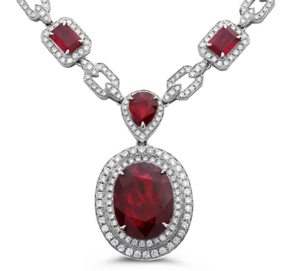 EXTRA LARGE 33.85CT DIAMOND & AAA RUBY 18KT WHITE GOLD 3D MULTI SHAPE NECKLACE