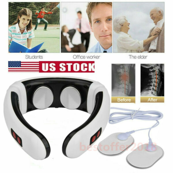 Electric Cervical Pulse Neck Massager Shoulder Relax Massage Magnetic Therapy US