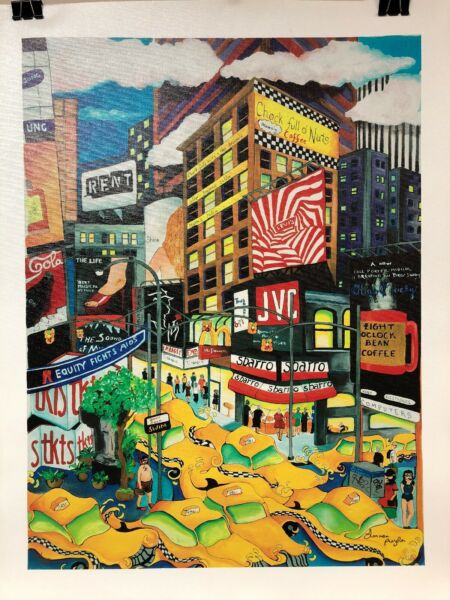 "Linnea Pergola ""NY Frenzy"" L. E. Giclee On Canvas Signed amp; Numbered 91 295"