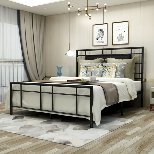 QueenFull Size Bed Frame Metal Platform Foundation With Headboard Black Brown