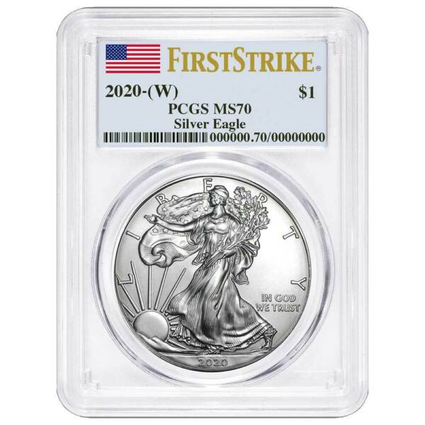 2020 (W) $1 American Silver Eagle PCGS MS70 First Strike Flag Label