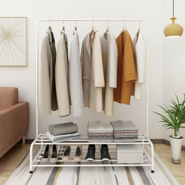 Garment Rack Clothes Rack Metal Hanger With Rod and 2-Storage Shelf  Heavy Duty