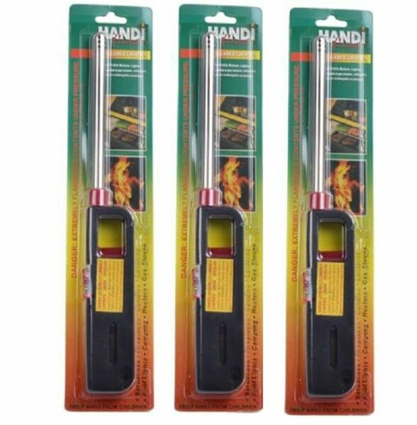 3PK BBQ Grill Lighter Refillable Butane Gas Candle Fireplace Kitchen Stove Long