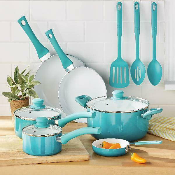 Ceramic Nonstick 12 Pc Cookware Set, Teal Home Kitchen Cook, Pots