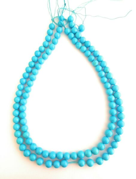 108 Round Beads 100% Natural Sleeping Beauty Turquoise Strand 6.7-7.5mm