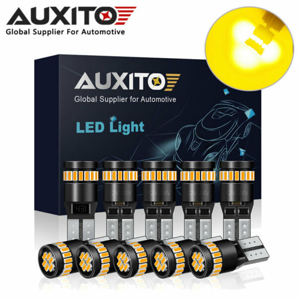 10x AUXITO T10 Canbus W5W 194 168 LED Amber Yellow License Plate Dome Light Bulb