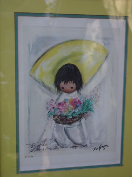 DeGrazia Flower seller Double signed actual artist  autographed print listed art