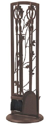 PANACEA 15913 5 piece  BROWN STEEL OAK LEAF FIREPLACE TOOL SET
