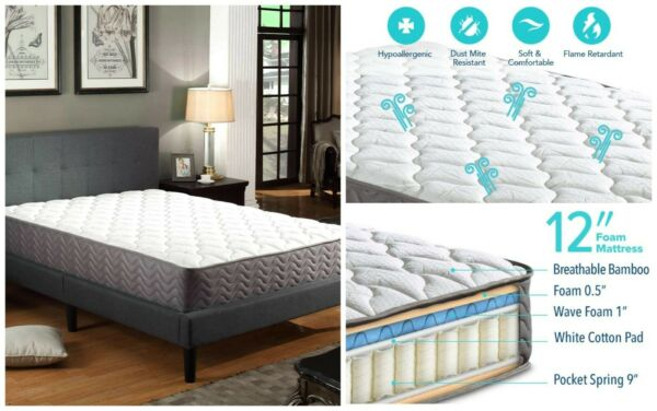 12 Inch Pocket Encased Coil Spring Contour Mattress Bamboo Cover Heat Sensitive