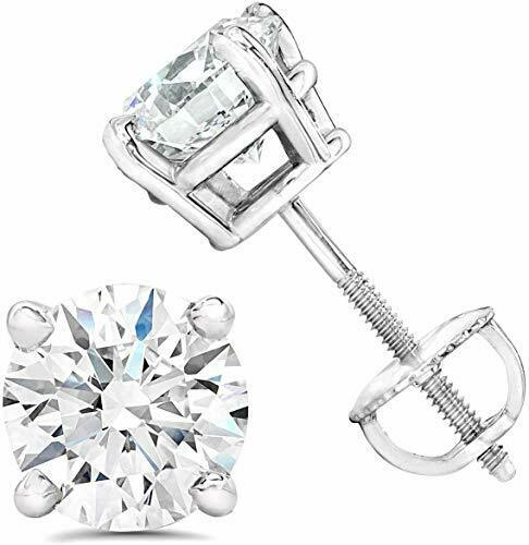 AGS Certified (Near Colorless I1- I2)15Ct To 1.0Ct Natural Diamond Stud Earring