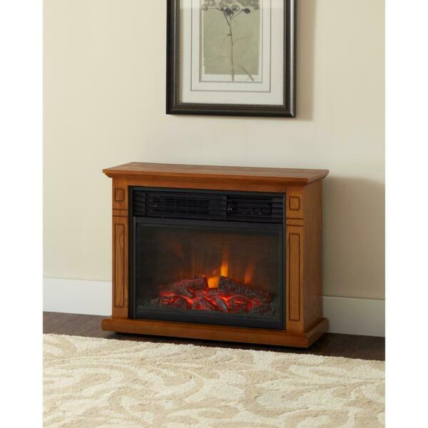 1500-Watt infrared Electric Fireplace in Oak Adjustable Thermostat Flame Light