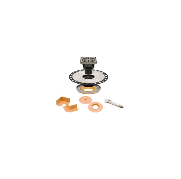 Schluter Kerdi 2quot; Drain with 4quot; Grate and Residential Adapter ABS