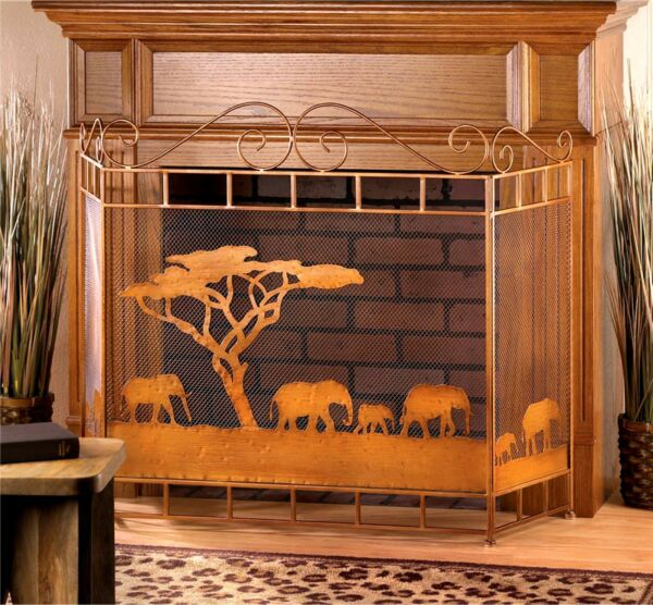 WILD SAVANNAH RUSTIC BRONZE FIREPLACE SCREEN *Elephants & Tree 50