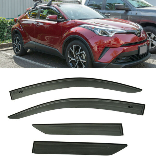 For 18-Up Toyota C-HR JDM MUGEN Style SMOKE TINTED Side Sun Shade Window Visors