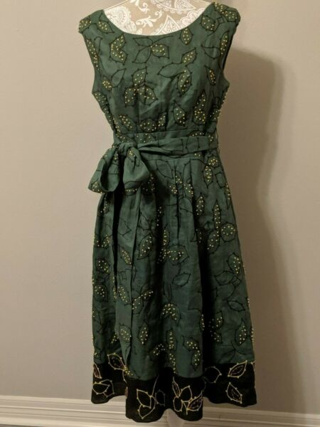 Lafayette 148 Green Sleeveless Linen Fit amp; Flair Dress Beaded Embroidery Size 8 $59.00