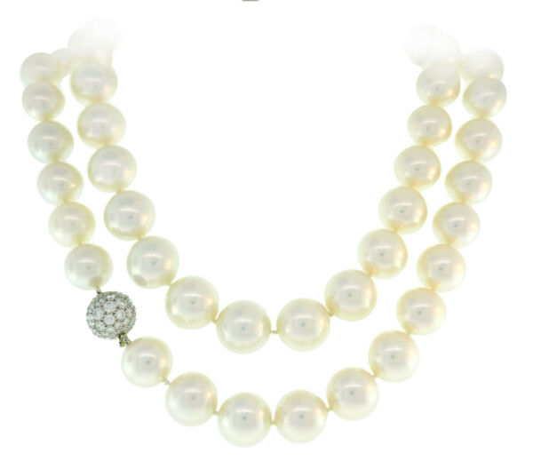 Tiffany & Co. Pearl Strand NECKLACE with Platinum Diamond Clasp Opera Length