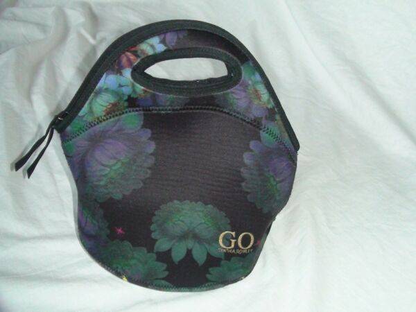 CYNTHIA ROWLEY GO NEOPRENE RE-USABLE LUNCH BAG BLACK WITH FLOWERS
