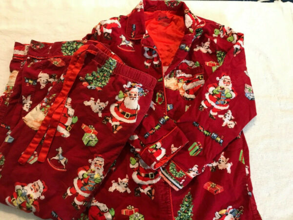 Nick And Nora Large Pajama Set Flannel Red Christmas Tree Santa Puppy Fireplace