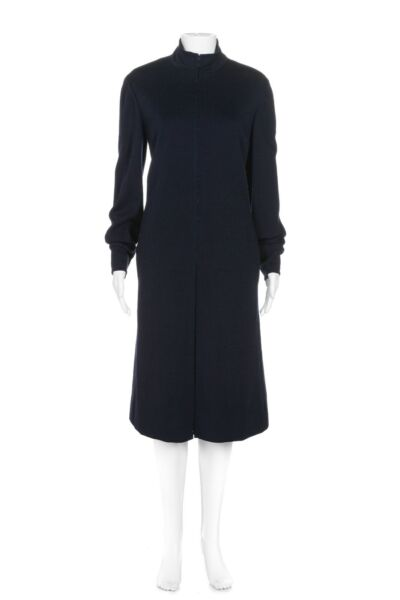 GIVENCHY Vintage Wool Blend Dress 12 Blue Mock Shift Zip Front Pleated Bergdorf