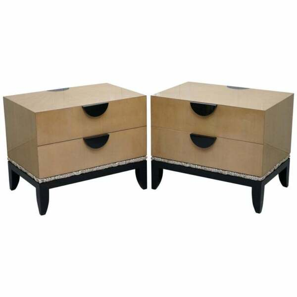 PAIR OF RRP £23500 J ROBERT SCOTT CLOUD CHESTS OF DRAWERS 14CT GOLD LEAF GLAZE