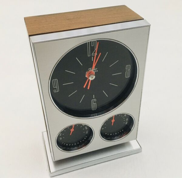 Taylor USA Isotron 101 Mid Century Modern Desk Mantel Clock Temp and Humidity