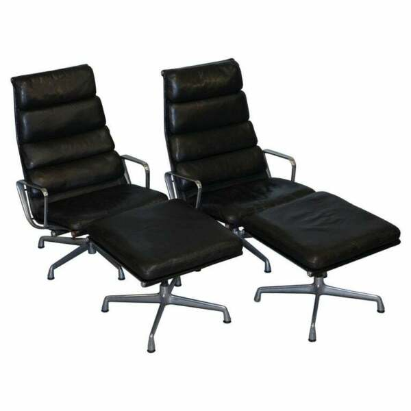 PAIR OF EAMES EA 222 HERMAN MILLER LEATHER RECLINER LOUNGE ARMCHAIRS