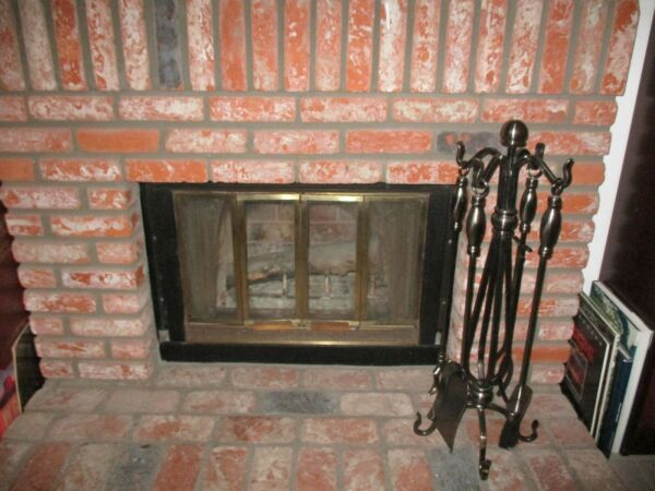 Heavy Metal Fire Place Fireplace Tool Set 4 Pieces amp; Stand