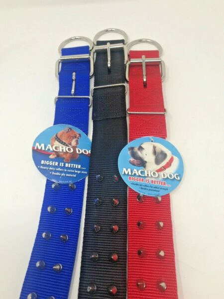 Macho 1 3 4quot; Double Nylon SPIKED DOG COLLAR Choose from Red Black Blue and size $19.99