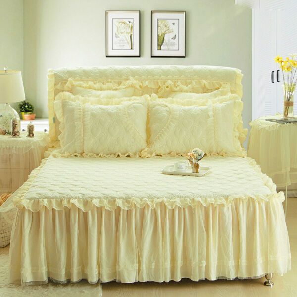 Korean Princess Lace Bedspread Skirted Full Queen King Dust Ruffle Quilted New