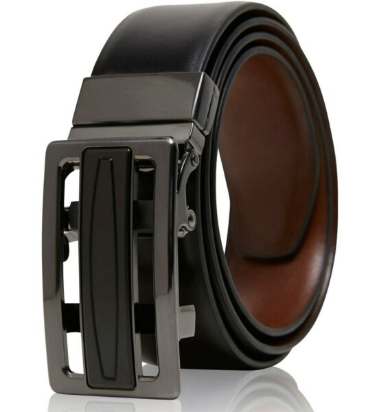 Real Leather Belt Mens Reversible Ratchet Belt With Adjustable Automatic Buckle $17.99