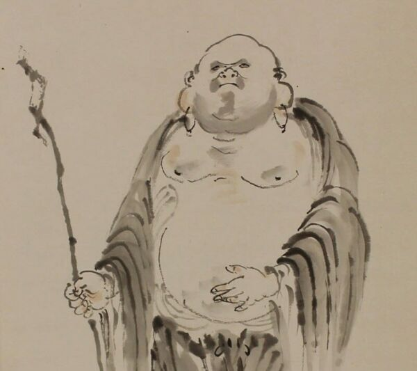 HANGING SCROLL JAPANESE PAINTING JAPAN Lucky God Hotei Old ANTIQUE ART 021p