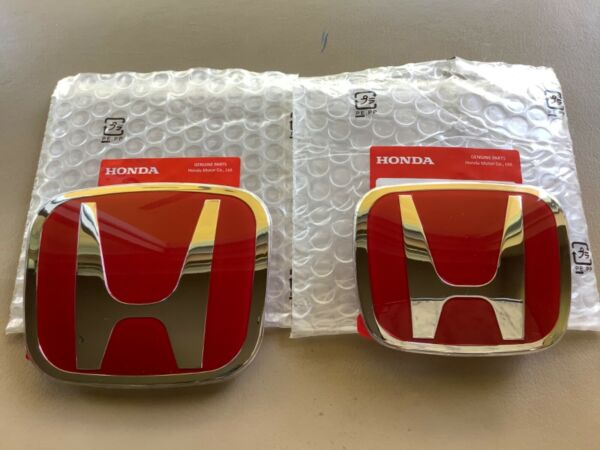2pcs set Honda Civic Sedan 4Dr 16-20 Red JDM H Front Rear Steering emblem grille
