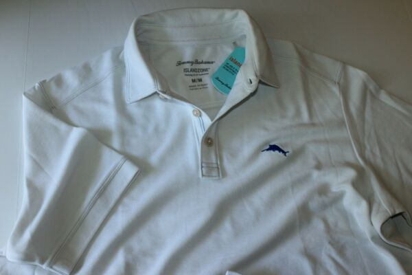 Tommy Bahama Polo Shirt Tropicool Embroidered Pique White T216945 Medium M