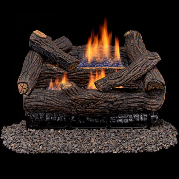 Duluth Forge Ventless Dual Fuel Log Set - 18 in. Stacked Red Oak - T-Stat Contro