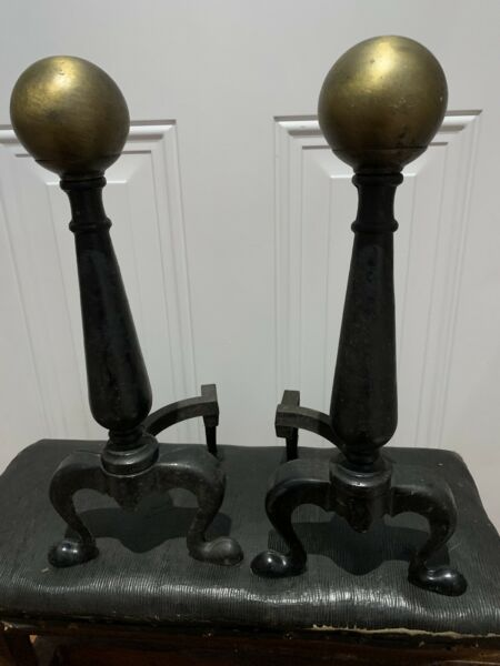 Vintage Cast Iron Fireplace Andirons Gold Cannonball Top