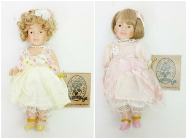 Classic Creations Blossom & Brina Hand Crafted Porcelain Dolls No. 633189 NIB