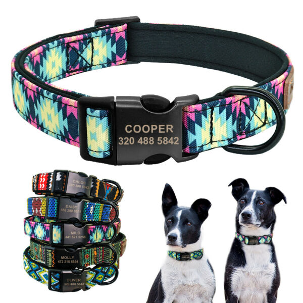 Personalized Dog Collars Soft Neoprene Padded Engraved Nameplate Buckle S M L XL $9.49