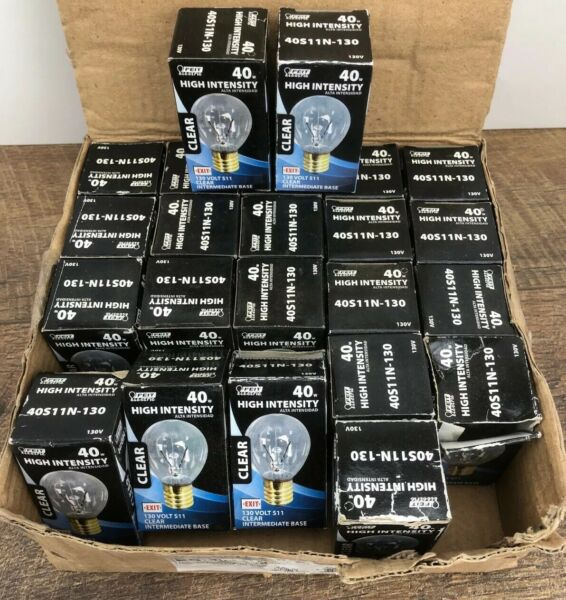 23 Feit Electric 40S11N 130 S11 Incandescent Screw Base Clear Light Bulb 40w Lot $26.95