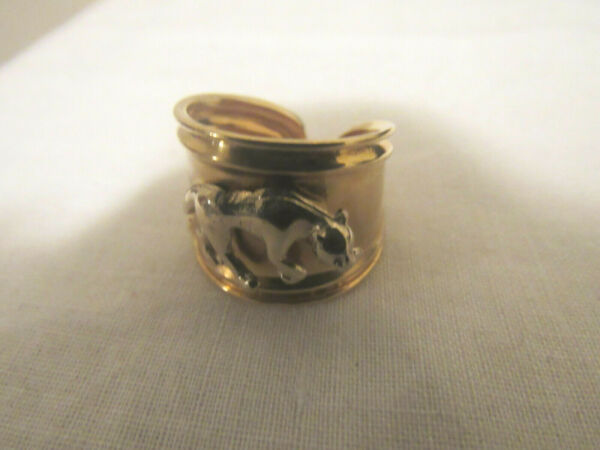 ESTATE 18K SOLID GOLD TWO TONE PANTHER WIDE TAPERED RING 7.1 GRAMS