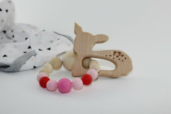 Handmade in USA Beaded Teething Ring & Rattle-Beech Wooden Silicone-Choose Yours