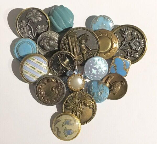 ABSOLUTELY GORGEOUS GROUP OF 18 ANTIQUE BUTTONS GLASS ENAMEL METAL amp; MORE