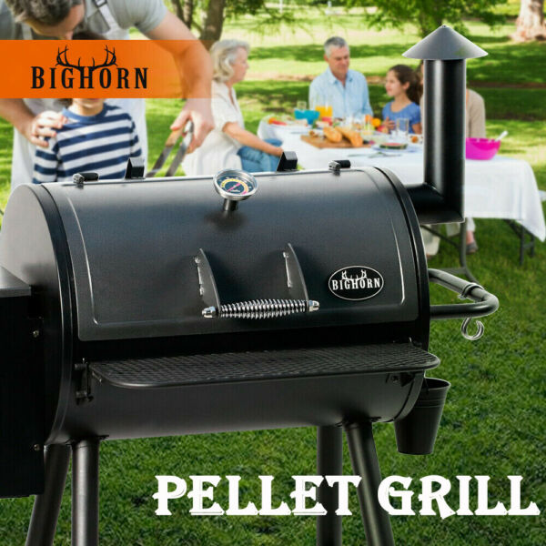 BIG HORN Pellet Grill Wood BBQ Grill Smoker Auto Temperature Control Best