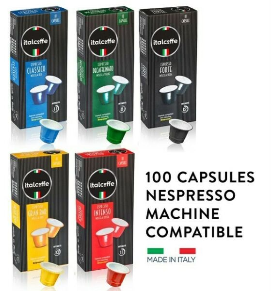 100 coffee capsules nespresso compatible made in Italy free shipping